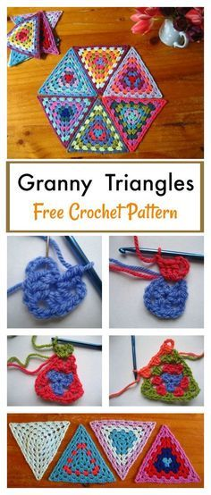 Crochet Square Patterns Granny Triangle Afghan Blanket Free Crochet Pattern - This Granny Triangle Afghan Blanket Free Crochet Pattern is a fun lesson in geometry. It is a lovely way to play with color and make something beautiful. Crochet Triangle Pattern, Crochet Square Patterns, Granny Square Crochet Pattern, Afghan Crochet Patterns, Crochet Squares, Crochet Motif, Knitting Patterns, Crochet Granny, Granny Squares