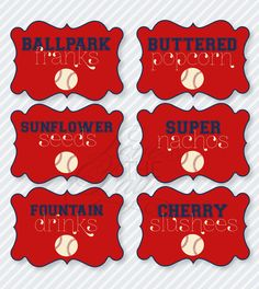 Baseball Birthday Party PRINTABLE Food Labels from Love The Day. $8.00, via Etsy.