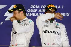 Top Step for Nico Rosberg and P3 for Lewis Hamilton at the #F1 2016 Gulf Air Grand Prix at the Sakhir Circuit #AMG #TeamLH