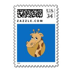 Cartoon giraffe postage stamp
