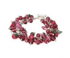 Burgundy Red Rose Bud Charm Bracelet for women, handmade  Silver Charm jewelry by Lottieoflondon