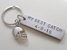 Anniversary Keychain Football Keychain Couples by JewelryEveryday