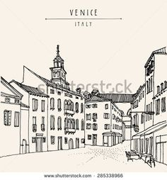 Venice city architecture, vintage engraved illustration, hand drawn. Venetian square with a cafe. Vector postcard greeting card template - stock vector