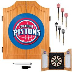 Trademark Commerce NBA7000-DP Detroit Pistons NBA Wood Dart Cabinet Set