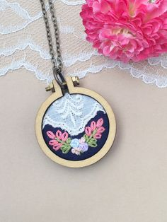 Mini Embroidery Hoop, Navy Pendant, Embroidered Flowers, Flower Mini Hoop Necklace, Lace Necklace, Boho Flower Necklace, Vintage Lace by PlaidLoveThreads on Etsy