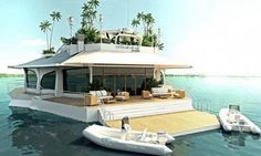 house_boat_island Beautiful Homes, Beautiful Places, Romantic Places, Floating House, Floating Island, Floating Boat, Small Island, Belle Villa, Jacuzzi