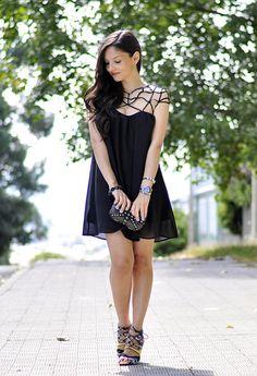 Cut-out Upper Black Dress