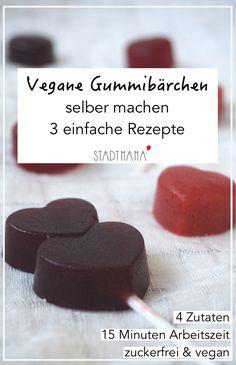 Drei einfache Rezepte für Vegan Gummibärchen ohne Zucker.