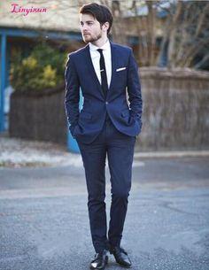26d5da344f4b Linyixun Gentleman Blazer Leisure Male Suits Custom Made Peaked Lapel Navy  Groomsman Tuxedos Wedding Suits