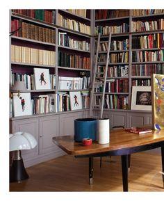 gray library shelves
