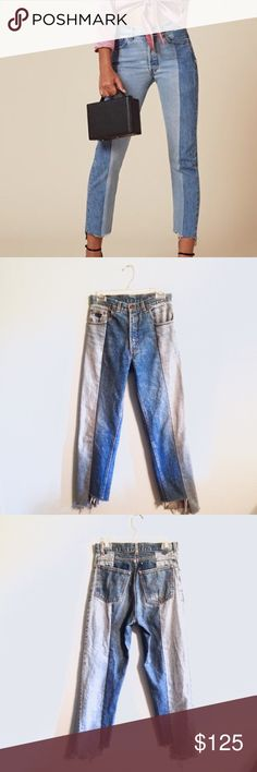 "Levi's Re/Done Vetements Style Denim Jeans XS S 28 Price firm. Custom re-worked Levi's. Vetements inspired. Waist is 28"", hip is 36"", inseam is 27"" at the longest point. Reformation Jeans Straight Leg"