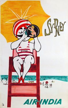 Air India vintage travel poster