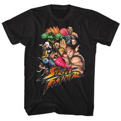 Street Fighter Character Collage Black T-shirt
