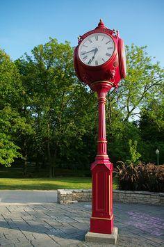 Clock - Time in the red Unusual Clocks, Cool Clocks, Tick Tock Clock, Red Clock, Outdoor Clock, Bloomington Indiana, Antique Clocks, Vintage Clocks, Time Clock