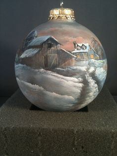 Hand painted ornament Winter farm by DiFrancescoStudios on Etsy