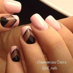 Light pink and black nails Colorful Nail Designs, Beautiful Nail Designs, Cute Nail Designs, Cute Nails, Pretty Nails, Hair And Nails, My Nails, Watermelon Nails, Gel Nagel Design