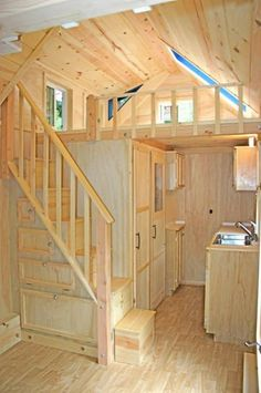 Amazingly Functional 136 Sq. Ft. Molecule Tiny Home on Wheels with Staircase & Storage.. WOW