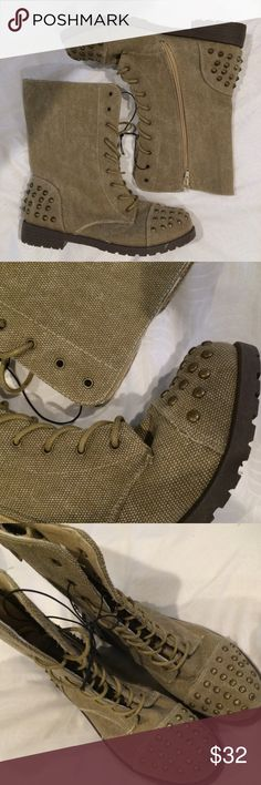 ❗️PRICE DROP❗️Combat Boots Wetseal boots brand new never worn! Still has manufacturer strings. Greenish/tan color. Studs on the toes and heels. Wet Seal Shoes Combat & Moto Boots