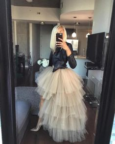 Womens Style Discover Ruffle Hi Low Asymmetrical Tulle Bridal Wedding Bridesmaid Skirt Prom Party Skirt Tiered Long Tulle Tutu Skirts Costume Skirt Outfits Dress Skirt Dress Up Cute Outfits Nude Skirt Skirt Pleated Jean Skirt Stylish Outfits Skirt Set Looks Street Style, Looks Style, Look Fashion, Fashion Outfits, Womens Fashion, Sneakers Fashion, Fashion News, High Fashion Style, Fashion Trends