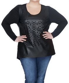 Look what I found on #zulily! Black Perforated Faux Leather Top - Plus #zulilyfinds