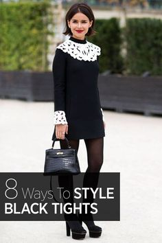 How to wear black tights this fall and winter stylishly: