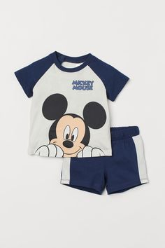 Dungarees Shorts, T Shirt And Shorts, Baby Boy Outfits, Kids Outfits, Mickey Mouse Outfit, Kids Clothes Boys, Kids Clothing, Cotton Sweatpants, Romper Suit