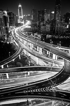 Shanghai, Yanan East Interchange by Yves Andre. If I had to drive it I'd probably cry haha Dark Photography, Monochrome Photography, Black And White Photography, Street Photography, Japon Tokyo, Black And White Aesthetic, White Picture, Urban Life, Black N White Images