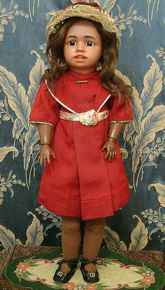 """25"""" Extremely Rare Brown Mulatto  SIMON & HALBIG 1358 Character Gorgeous Antique Costume! $ 6,300"""
