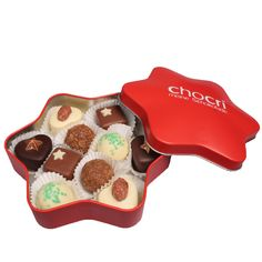 Verwandele das Weihnachtsfest mit dem Pralinenstern von #chocri zu einem besonders genussvollen Erlebnis. #Pralinen #Schokolade #Weihnacht