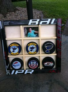 Hockey Fans this is the perfect way to display your prized pucks and photos. We fix broken hockey sticks but it isnt always possible. Hockey Sticks, Hockey Puck, Hockey Mom, Hockey Stuff, Hockey Party, Hockey Crafts, Hockey Decor, Montreal Canadiens, Boy Room