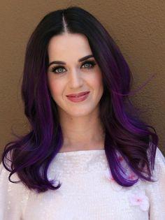 dark purple hair color of Katy Perry Dark Purple Hair, Hair Color Purple, Purple Ombre, Violet Ombre, Violet Hair, Bright Purple, Ombre Wigs, Ombre Hair, Katy Perry Purple Hair