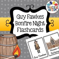 Bonfire Night, Guy Fawkes, Flashcards, PromptsA total of 19 different flash cards all related to Bonfire Night/ Guy Fawkes. Comes in colour/color option. Appropriate for American and British classrooms.These come two to a page. I recommend cutting them out individually and laminating. Bonfire Night Guy Fawkes, Bonfire Night Activities, Teaching Kindergarten, Teaching Ideas, Autism Classroom, Teaching Social Studies, Beginning Of School, Letter Sounds, Classroom Activities