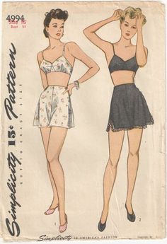 1940's Simplicity Vintage Sewing Pattern 34 Bust Size 16 Bra Panties Unprinted