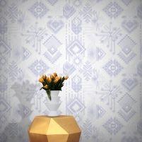 Feathr Lunar Gems Wallpaper by Michiko Design-Peach B&q Wallpaper, Peach Wallpaper, Modern Wallpaper Designs, Designer Wallpaper, Tribal Pattern Wallpaper, Kids Patterns, Pattern Art, Pink Blue, Light Purple