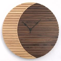 Items similar to Lunar Crescent clock by Timecatcherclocks, very distinctive design using Maple and Walnut on Birch ply. on Etsy Large Wood Clock, Wood Clocks, Handmade Clocks, Unique Clocks, Minimalist Wall Clocks, Living Room Clocks, Trophy Design, Wall Clock Design, Birch Ply