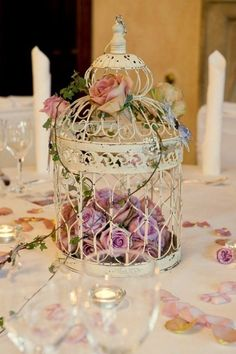 6 VINTAGE CREAM WEDDING CENTREPIECES VINTAGE CREAM WEDDING BIRDCAGES BIRD CAGE