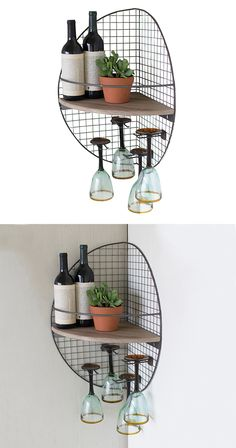 Farmhouse style gets an industrialized upgrade. Our Faulkner Corner Shelf is crafted with wire and recycled wood to suit a range of decorating styles. Charming and functional, this design is ideal for ...  Find the Faulkner Corner Shelf, as seen in the Industrial Outdoor Verve Collection at http://dotandbo.com/collections/industrial-outdoor-verve?utm_source=pinterest&utm_medium=organic&db_sku=124184