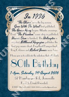 80th Birthday Party Invitations // Men's Art Nouveau //