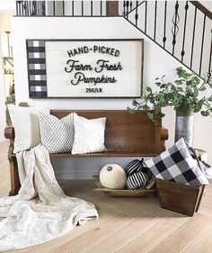 Buffalo check is pretty much a fall decor staple! Plus, plush pillows and warm blankets just make everything a bit cozier! Fall Home Decor, Autumn Home, Diy Home Decor, Room Decor, Fall Entryway Decor, Halloween Entryway, Fall Fireplace Decor, Rustic Decor, Farmhouse Decor