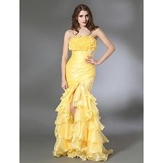 Trumpet/ Mermaid Strapless Floor-length Organza Taffeta Evening/Prom Dress – USD $ 117.99