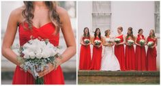 Red Bridesmaids Dress | Elegant Southern Affair by Black and Hue Photography