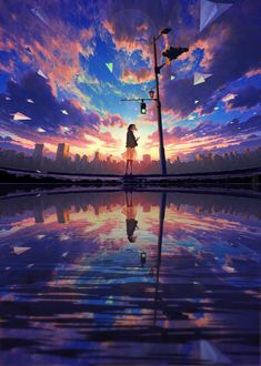 World of Our Fantasy: Photo Anime Backgrounds Wallpapers, Anime Scenery Wallpaper, Anime Artwork, Animes Wallpapers, Fantasy Art Landscapes, Fantasy Landscape, Landscape Art, Aesthetic Art, Aesthetic Anime