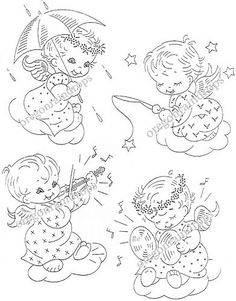 8 Baby Angels Embroidery Pattern Vintage Transfers | eBay