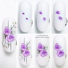 Water Nail Art, Water Color Nails, Swirl Nail Art, Rose Nail Art, Nail Art Designs, Acrylic Nail Designs, Nail Art Modele, Lily Nails, Nail Logo