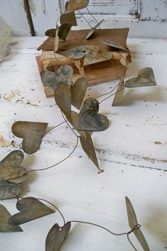 Rustic garland rusty weathered hearts metal French chic vignette decoration home decor Anita Spero on Etsy, $85.00