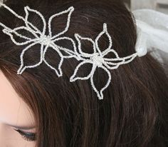 Beaded Bridal Headband Silver