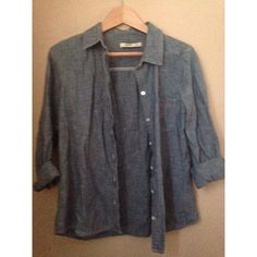chambray button-up long-sleeved chambray button-up with one chest pocket Old Navy Tops Button Down Shirts