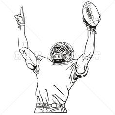 Sports Clipart Image of Black White Football Player Number One Team Mom Football, Football Clip Art, Football Tattoo, Bulldogs Football, Cowboys Football, Football Posters, Football Decor, Black And White Football, Black White