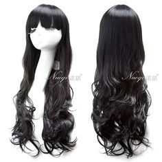 Free Shipping 60CM Synthetic Hair Women Lady Long Curly Black Wig