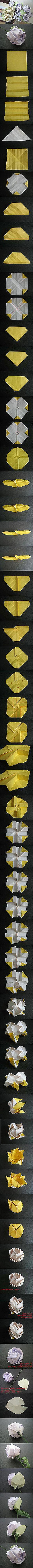 A pretty complex origami paper rose DIY